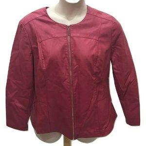 ALFANI Size XL Jacket Solid Pink Faux Leather